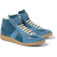 Maison Martin Margiela - Panelled Leather and Suede High Top Sneakers | MR PORTER