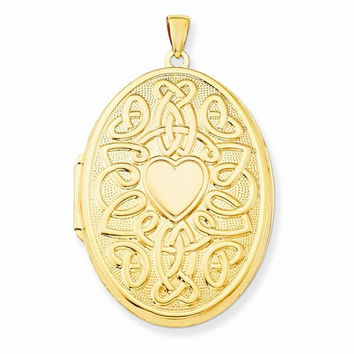 14k Yellow Gold Celtic Heart 38mm Oval Locket