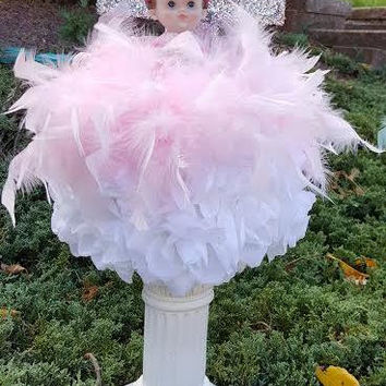 Girl christening centerpiece-baby angel- glitter cross- free standing column centerpieces-feather centerpieces-Baby girl baptism centerpiece