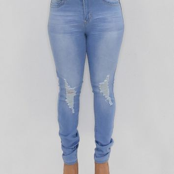 'Gloria' Light Blue YMI High Rise Skinny Torn Jeans