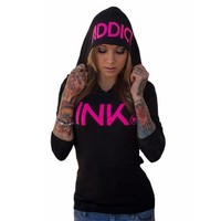 INK Women's Black/Pink Thermal Hoodie