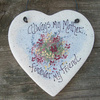 Mothers Day Gift  Heart Salt Dough Ornament Gifts for Mom