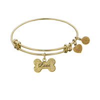 Non-Antique  Stipple Finish Brass Bone With Love Angelica Bangle, 7.25 Inches Adjustable