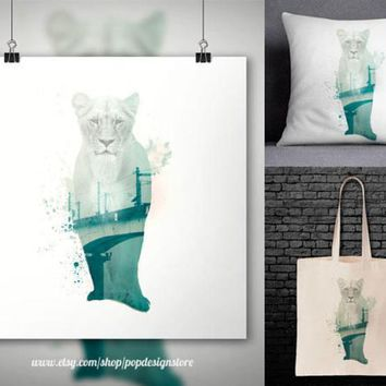 Lion Double Exposure City Landscape Africa Animals Print Poster Tote Bag Mug Frame Pillow Case - Digital File for Download PNG High Quality