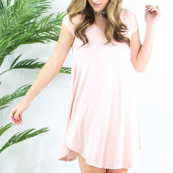The Last Song Rose Casual V-Neck T-Shirt Dress