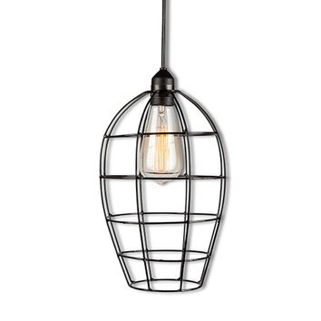 Beehive Wire Cage Hanging Lamp with Edison Bulb
