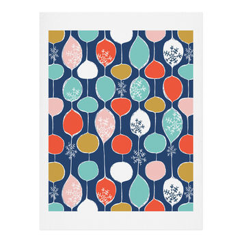 Heather Dutton Snowflake Holiday Bobble Chill Navy Art Print