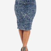 High Waist Acid Wash Midi Pencil Skirt