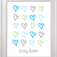 Personalized Scribbled Heart Print 8x10 or 11x14