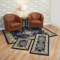 "Maya Collection 3 Pc Area Rug Set Size: 5'x7' Rug, 22""x59"" Runner, 22""x31"" Mat - Royal Crown Navy"