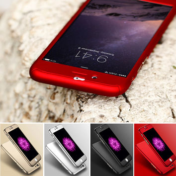 For iPhone 6S 7 Plus Hard Case For iPhone 6 6S Plus 7 Plus 5 5S SE Front Clear Glass Film Slim Back 360 Degree Shockproof Cover