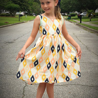 Girls Boutique Custom Made Aztec Maisie Dress- Great for back to school_ Sleeveless and short sleeve avasilable