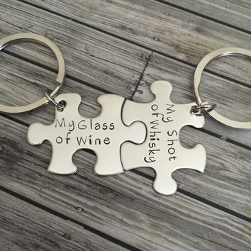 Glass of wine, shot of whiskey, couples keychains, couples gift , Anniversary Gift