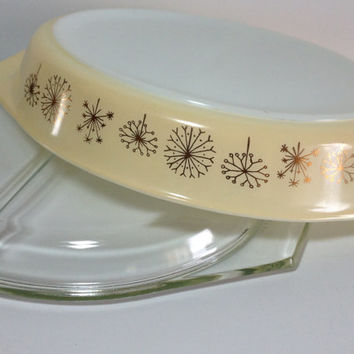 Vintage Pyrex Dandelion Duet Divided Dish 963 with lid Ivory and gold pyrex Pyrex Thistle Dish