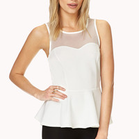 Refine Mesh-Trimmed Peplum Top