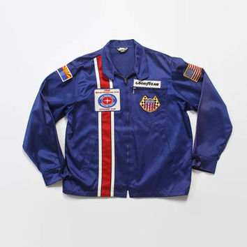 Vintage 60s Auto Club Jacket / 1960s Goodyear USAC Car Club Satin Jacket L