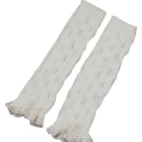 White Button Crochet Trims Knitted Leg Warmers