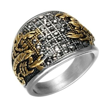 Men's Punk Gold Scorpions Gothic Rings for Male Titanium Stainless Steel Vintage Biker Men Jewelry