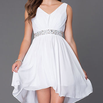 Plus-Size V-Neck High-Low Homecoming Dress