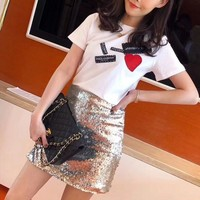 """Dolce & Gabbana"" Women Casual Fashion Patch Logo Love Heart Short Sleeve T-shirt Top Tee"