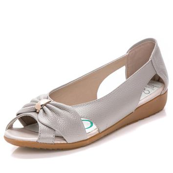 Genuine Sandals Women Cow Leather Hollow Flat Butterfly-Knot
