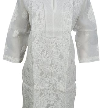 Mogul Interior Womans White Tunic Floral Embroidered Cotton Kurta Yoga Resort Wear L: Amazon.ca: Clothing & Accessories