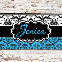 Unique gift for women, Monogrammed license plate or frame, Custom car accessory Pretty bike license plate accessory Blue black damask (1389)