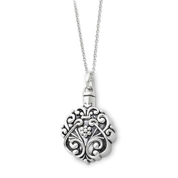 Rhodium Plated Sterling Silver Scroll Ash Holder Necklace, 18 Inch