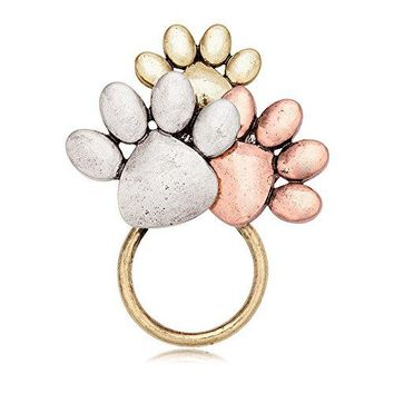 MANZHEN Tricolors Dog Paw Print Magnetic Badge Eyeglass Holder Brooch for Shirts