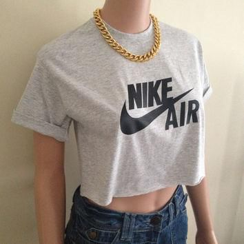 Nike Air Max Short Sleeved Grey Charcoal Crop Top Tee T Shirt Hipster