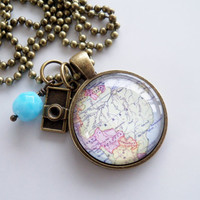 Map of Brazil -  South America - Pendant Necklace - Custom Jewelry - Travel Necklace - You Choose Bead and Charm - Personalized Map Necklace