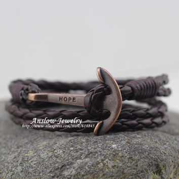LOW0220LB New Arrival Vintage Retro Hope Anchor 4 Colors PU Leather Bracelet Classic Style 40cm Length Gift Free Shipping