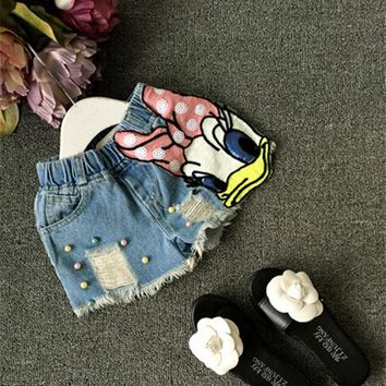 2017 Baby girls shorts jeans duck design summer children's shorts kids denim shorts for girls pants toddler girl clothing