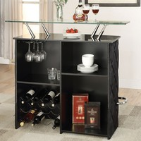 Acme 72665 Jacey black velvey tufted upholstered bar unit with chrome accents