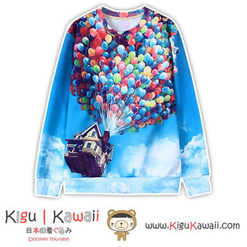 New House with Balloons Cartoon Printed Jacket Harajuku Unisex Sweater KK829