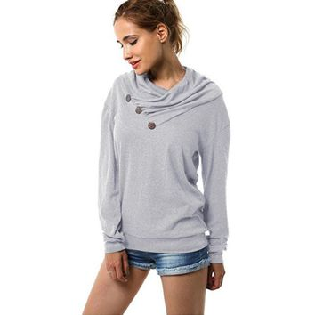 Wipalo New Autumn Women Hoodies Long Sleeve Cowl Neck Casual Sweatshirts Gray Buttons Solid Color Female Hoodie High Quantity