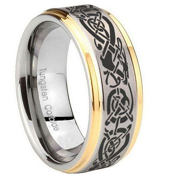 10MM Step Edges Celtic Dragon 14K Gold IP Tungsten Two Tone Men's Ring