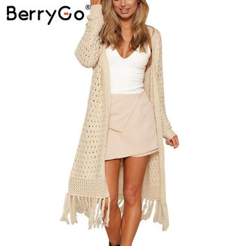 BerryGo Elegant long knitting cardigan sweater