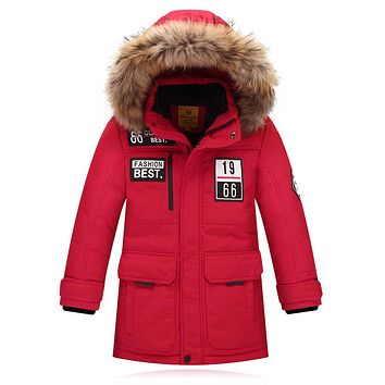 Children's Down Jackets coat fur Big boy Coat thick duck Down feather jacket Outerwear