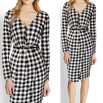 Houndstooth Print V-Neck Long Sleeves Wrap Midi Dress