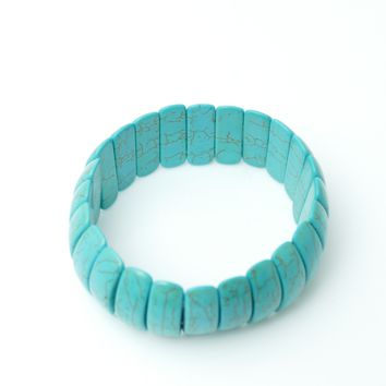 6 Assorted Turquoise Stretch Bracelets (unit Price $ 4.00)