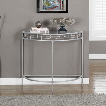 "Accent Table - 36""L - Silver Metal Hall Console"