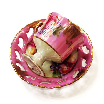Antique Lipper and Mann Royal Halsey Demitasse, Lusterware, Footed Cup, Pink, Fruit, Gold, Reticulated Saucer, NOS?, 1940s