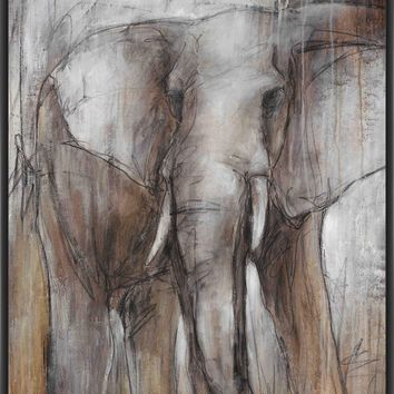 ELEPHANT STUDY 28L X 28H Floater Framed Art Giclee Wrapped Canvas