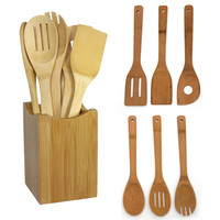 Stylish 6 pcs/SET Bamboo Spoon Spatula Wooden Utensil Kitchen Turners Tool in Mesh Bag