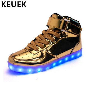 Fashion LED shoes Men Luminous shoes Lighted Flats Breathable Lighted USB Casual shoes 022