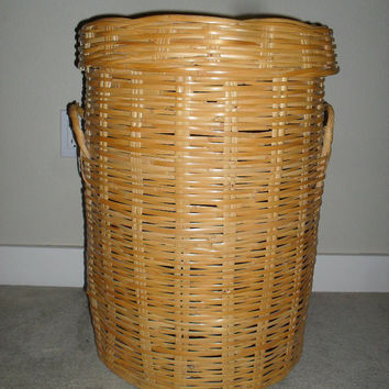 Vintage Mid Century Rattan Wicker Bamboo Laundry Hamper Basket extra large