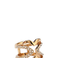 FOREVER 21 Cutout Cross Rhinestone Ring Gold/Clear