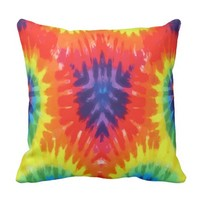 Psychedelic Tie Dye Design Throw Pillow