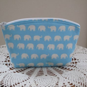 Tiny Elephants Cosmetic Bag Clutch Zipper Purse   Made in the USA Bridal Wedding